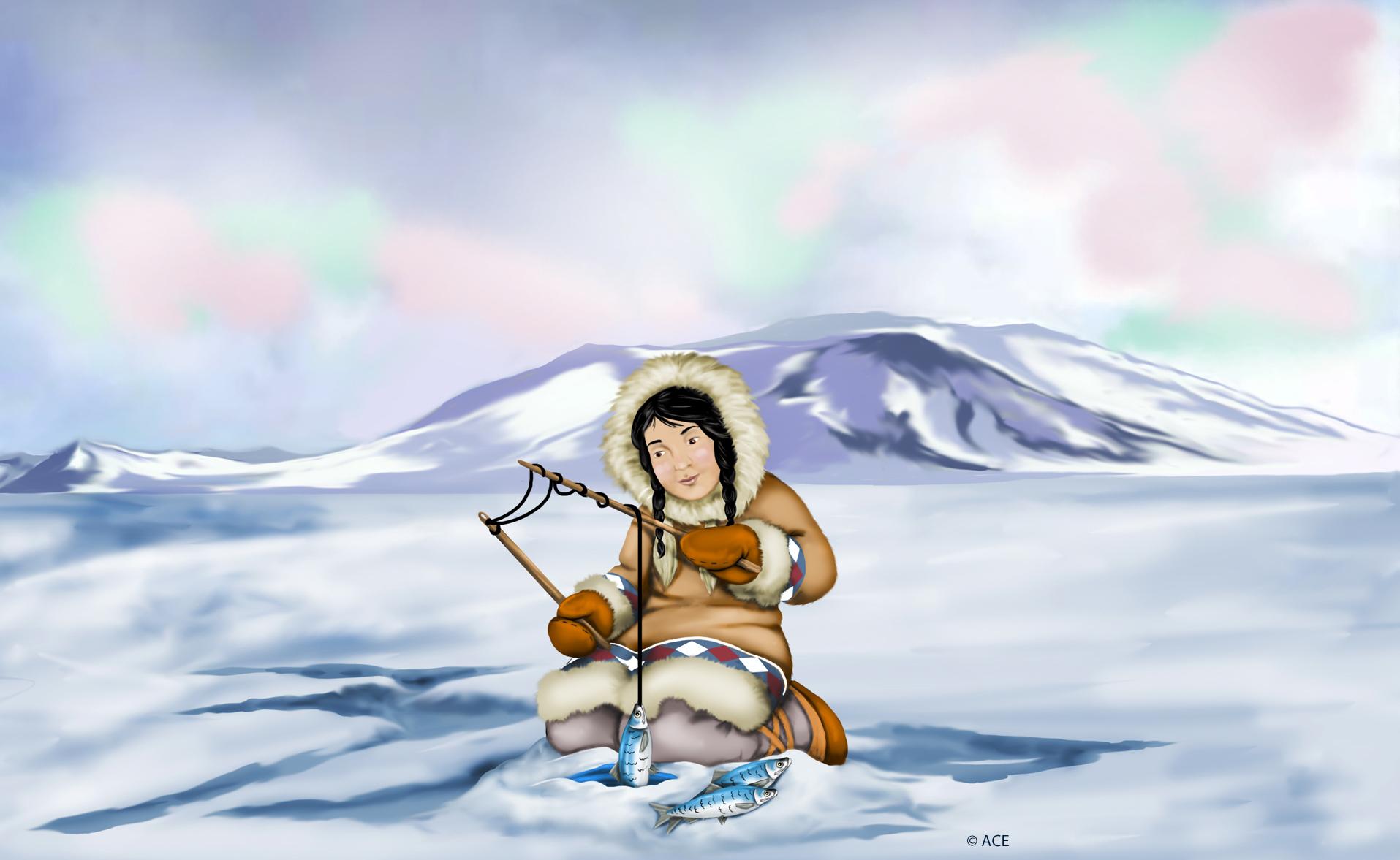 Eskimo Girl Fishing