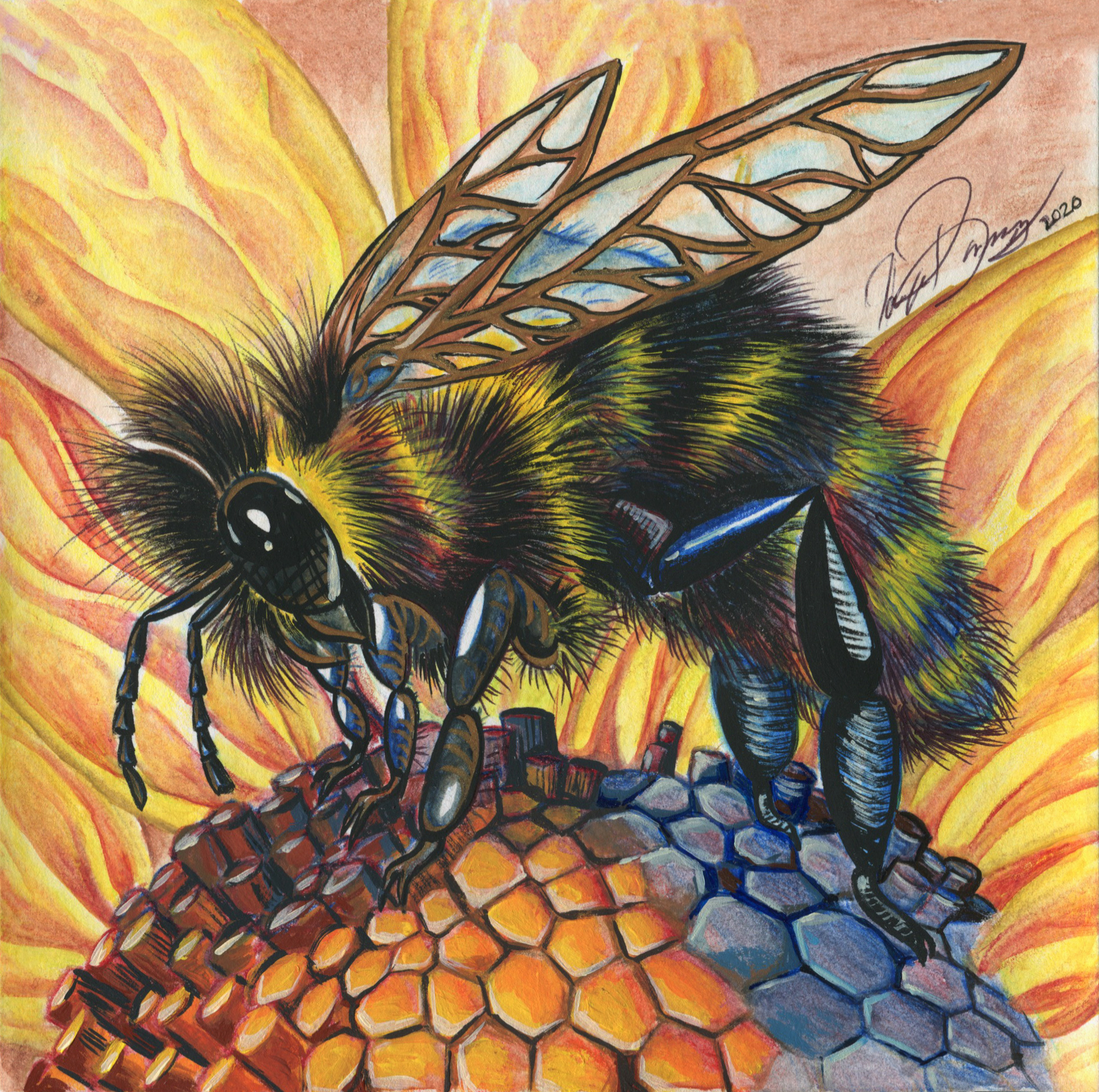 Little Bee Painting No Border