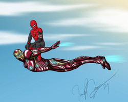 Spidey Riding Ironman