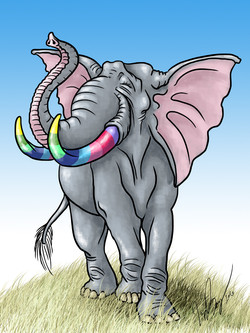 Colorful Tusks Elephant