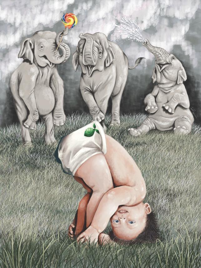 Baby and Elephants