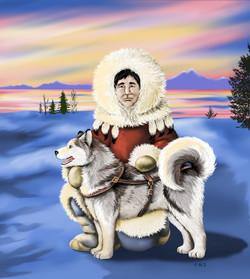 Native Eskimo Man & Dog