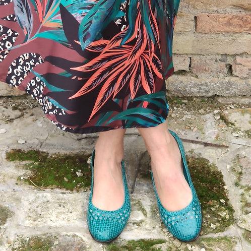 FRAU ballerina pelle intrecciata turchese e blu
