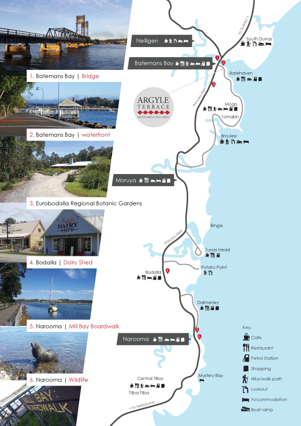 Eurobodalla Far South Coast map - Argyle Terrace Motel accommodation Batemans Bay