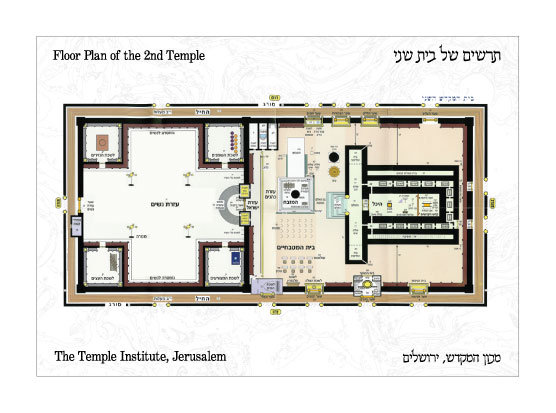 Hebrew Second Temple Floor Plan Postcard