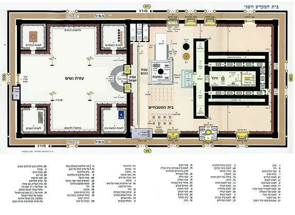 Second Temple Floor Plan (Hebrew Version) laminated poster