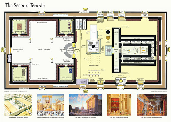 Second Temple Floor Plan (English Version) laminated poster