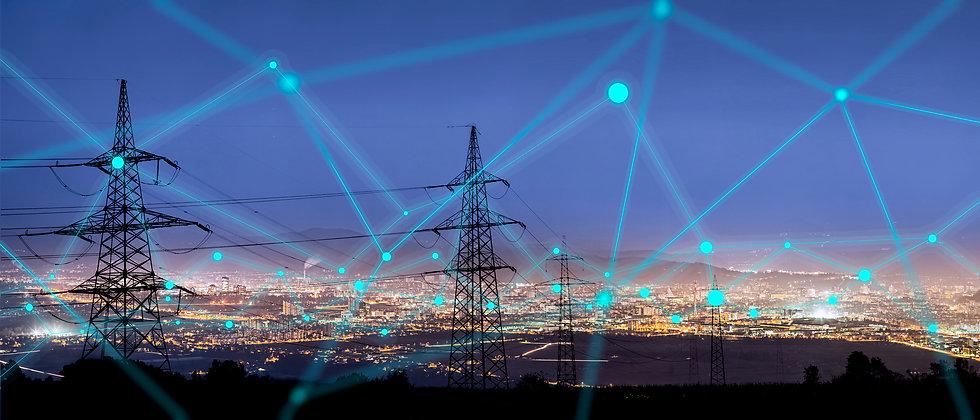 High power electricity poles in urban ar