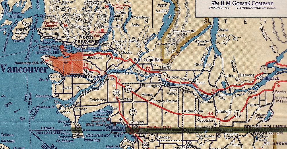 1942 Road Map: Greater Vancouver and Fraser Valley, BC