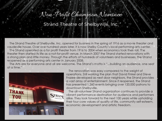 Non-Profit Champion Nominee:  Strand Theatre of Shelbyville, Inc.