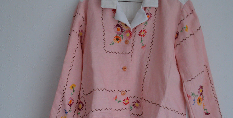 Daisy Floral Embroidered Pink Linen Patchwork Shirt