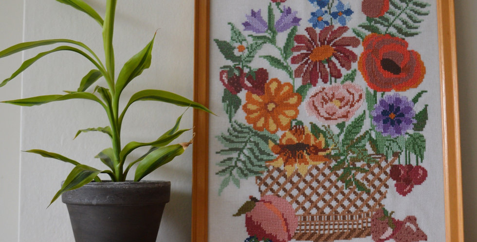 Fruit and Floral Basket Framed Tapestry Art