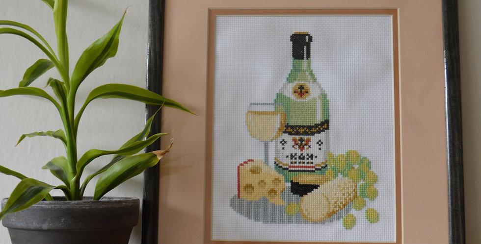 Cheese + Wine Cross Stitch Framed Art