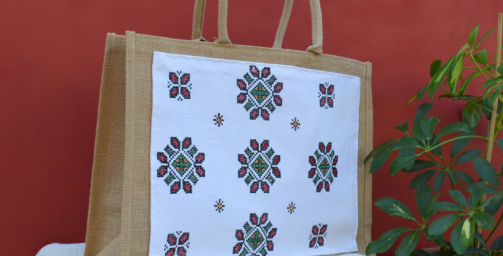 Vintage Ukrainian Geometric Embroidered Jute Shopper Bag
