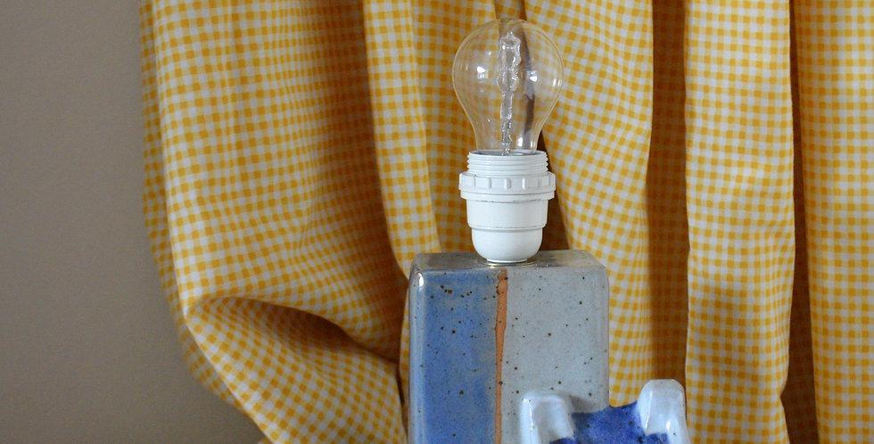 Studio Pottery Blue House Lamp Base