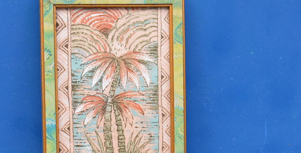 Miami 1970's Tropical Palm Mini Marbled Framed Fabric Art