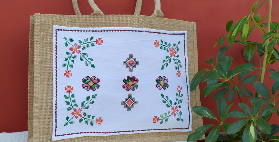 Vintage Ukrainian Floral Embroidered Jute Shopper Bag