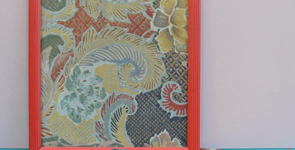 Vintage Rococo Framed Fabric Art