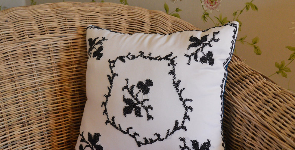 Monochrome Cross Stitch Embroidered Cushion Cover