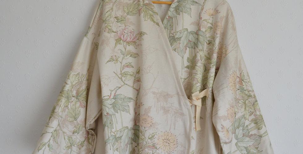 Oriental Pastel Floral Wrap Top