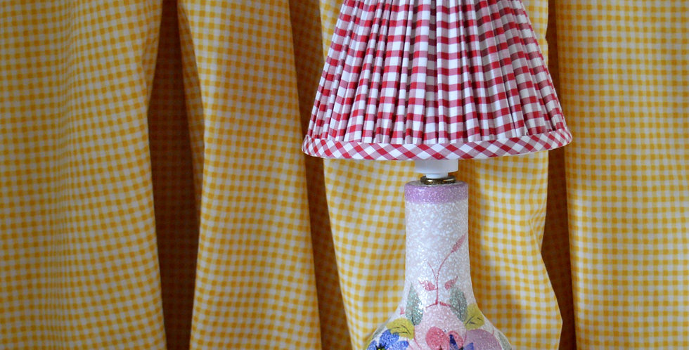 Red Gingham Italian Hand Painted Floral Lamp