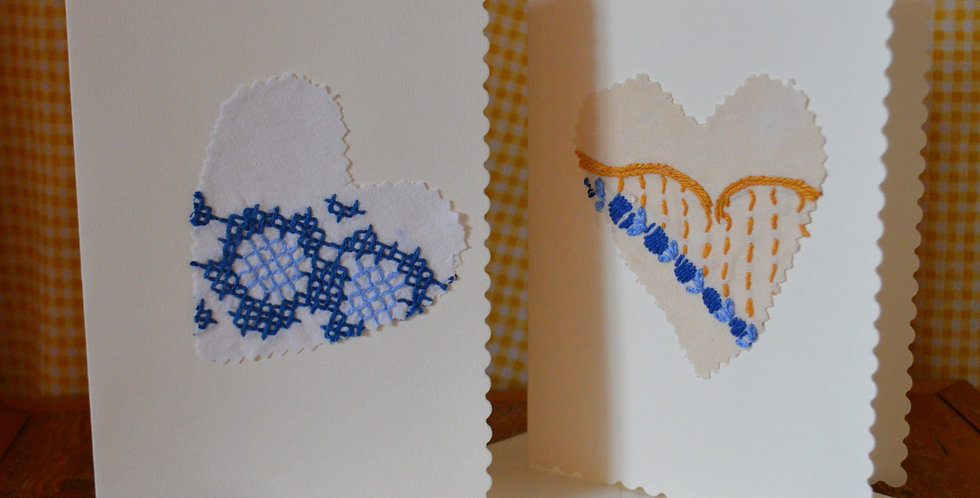 Embroidered Heart Greeting Cards