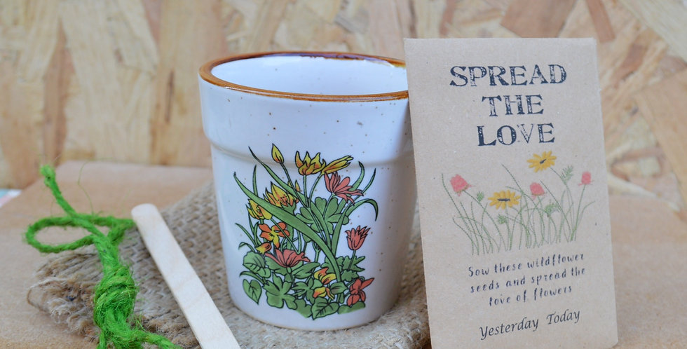 Vintage 70's Botanical Floral Plant Pot Wildflower Seed Set 3