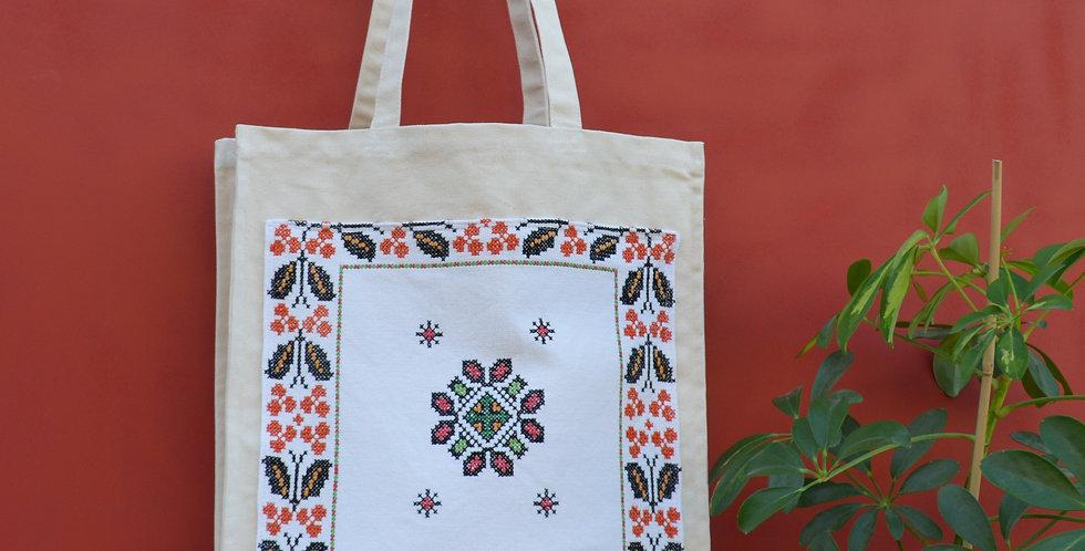 Vintage Ukrainian Floral Embroidered Canvas Shopper Bag