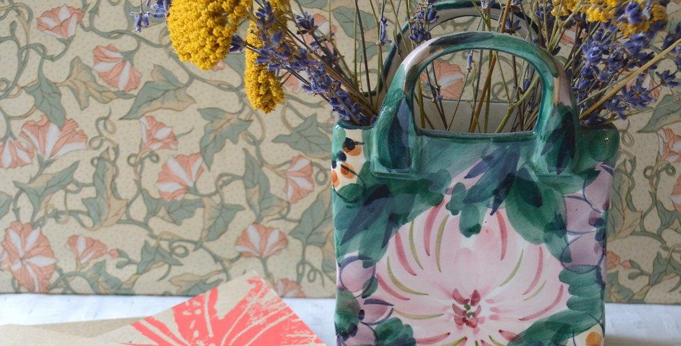 Gift Bundle: Ceramic Hand Painted Floral Handbag Vase + Card