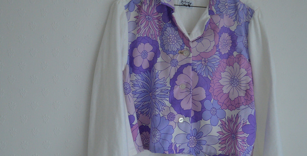 70's Lilac Floral Swing White Patchwork Shirt