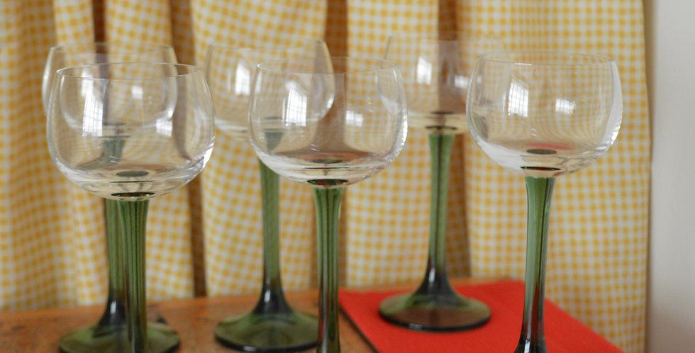 Green Stem 70's Wine Glasses x 6