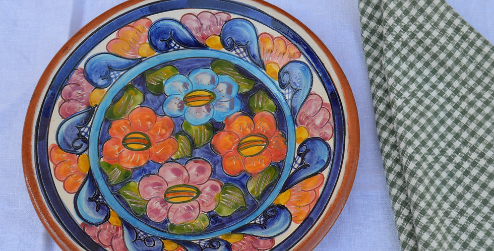 Hand Painted Portuguese Floral Plate