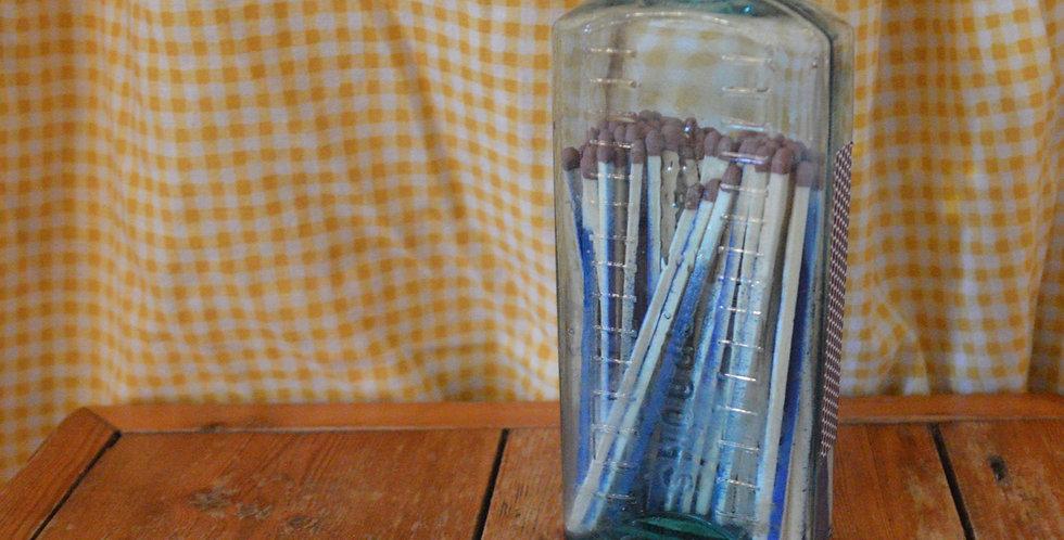 Antique Victorian Glass Blue Match Jar
