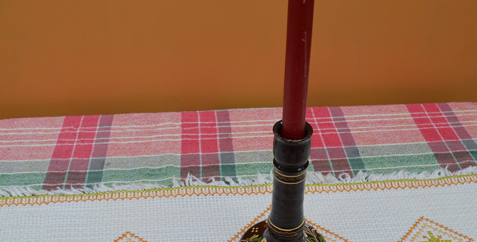 Vintage Hand Painted Terracotta Candlestick