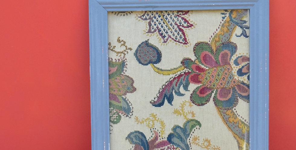 Floral Jacquard Framed Fabric Art