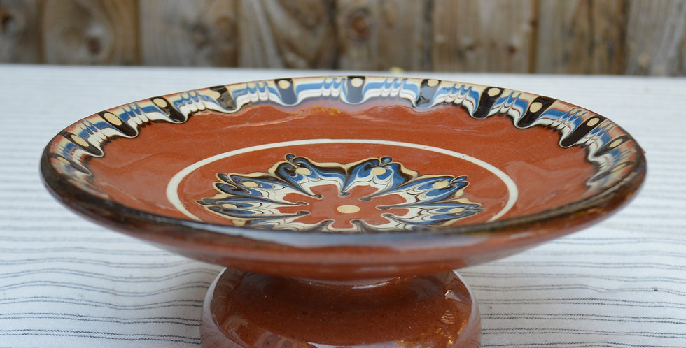 Bulgarian Troyan Pottery Marbled Drip Glaze Terracotta Cake / Fruit Stand