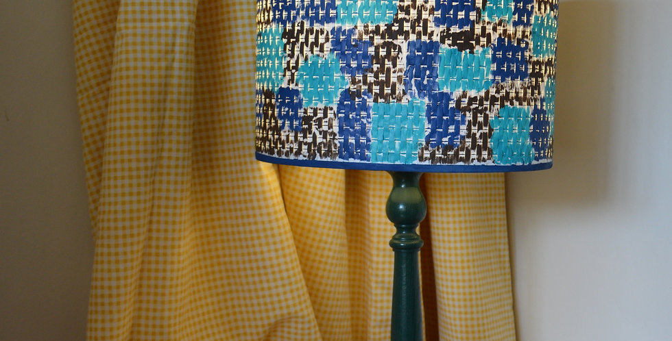 Hand Painted Textured Blue Lampshade and Wooden Base