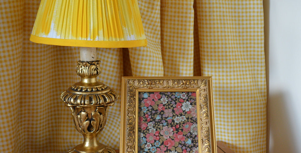 Painted Gold Baroque Framed Ditsy Floral Fabric Art