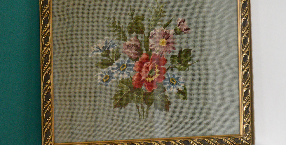 Bunch of Flowers Tapestry Regal Gold Frame Antique