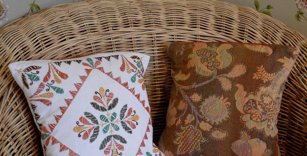 Folklore Embroidered Mini Cushion