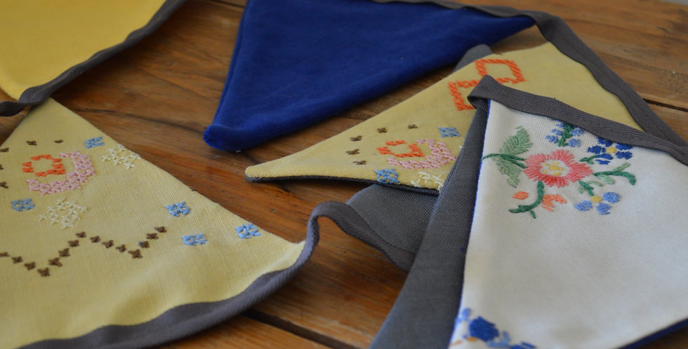 Yellow & Blue Embroidered Bunting