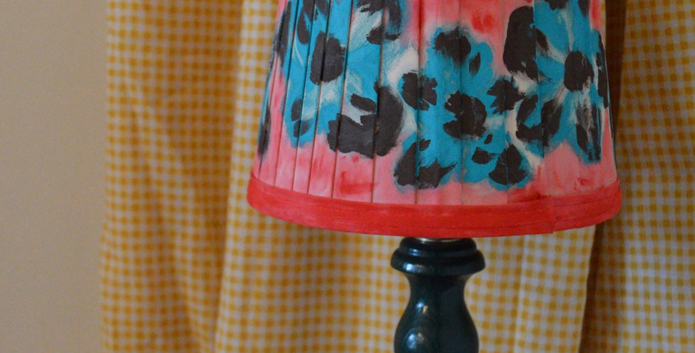 Hand Painted Illustrative Floral Knife Pleated Lampshade