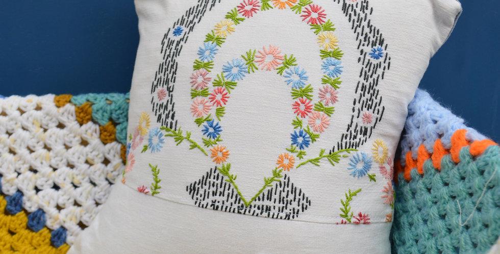 Italian Hand Stitched Daisy Cushion