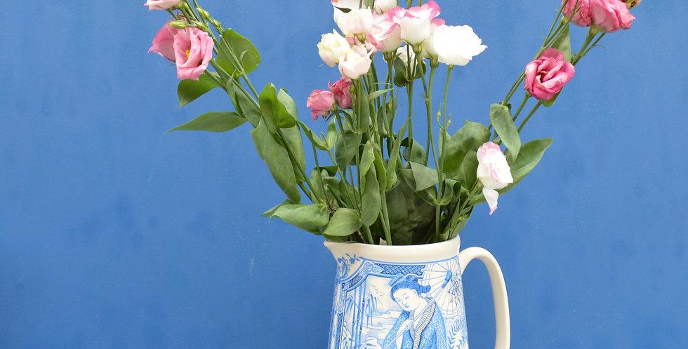Large Blue Oriental Jug Vase