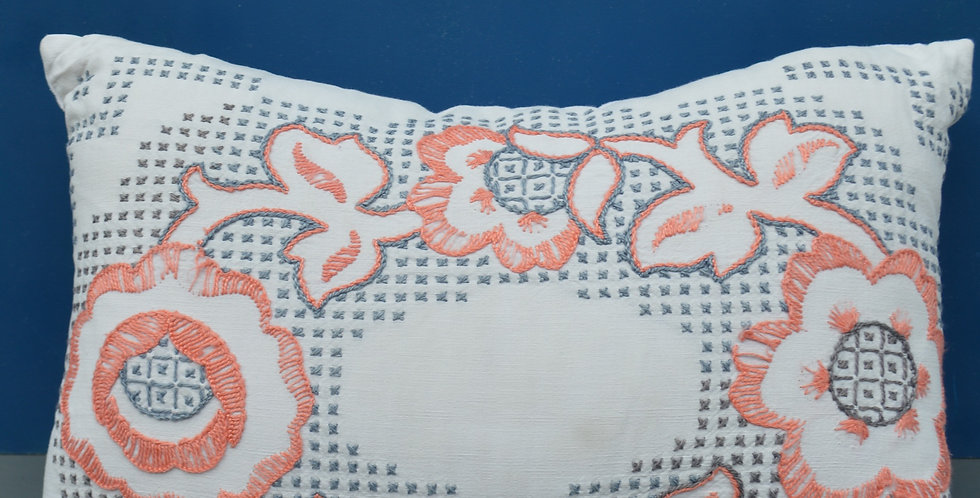Floral Embroidered Pink & Grey Cotton Cushion Cover