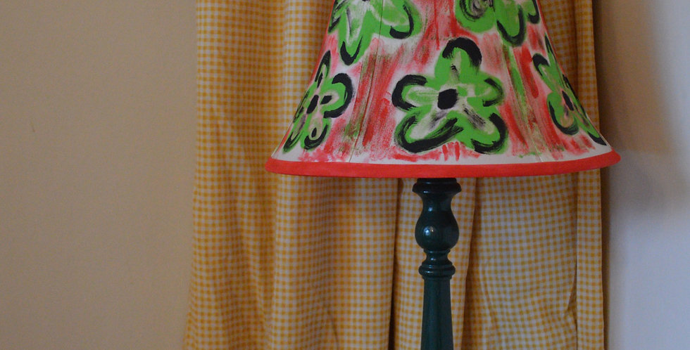 Hand Painted Illustrative Acid Floral Tapered Lampshade