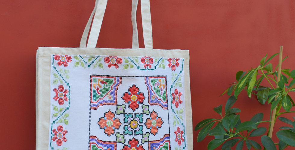 Vintage Ukrainian Floral Embroidered Boxy Canvas Shopper Bag