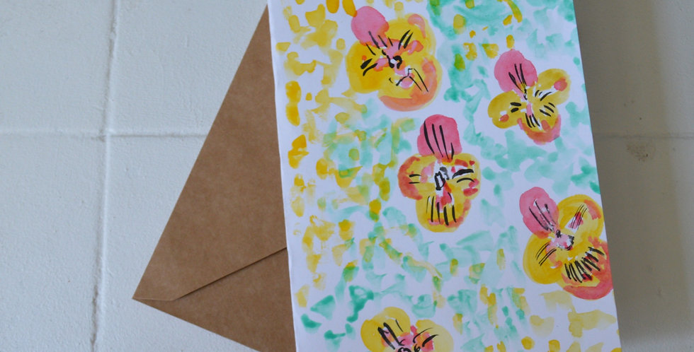 Hand Painted Watercolour Poppy Greeting Card