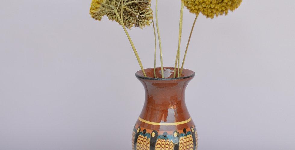 Bulgarian Troyan Pottery Marbled Drip Glaze Terracota Vase