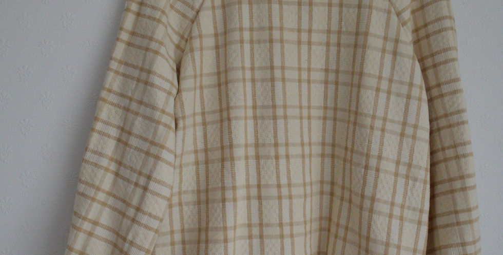 Neutral French Woven Check Everyday Top